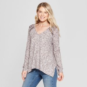 Knox Rose | Long Sleeve Waffle Knit Top | Size S